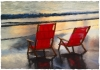 Red Beach Chairs by Ron Bernard